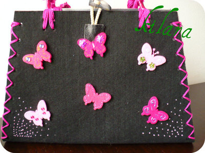 borsa nera farfalle