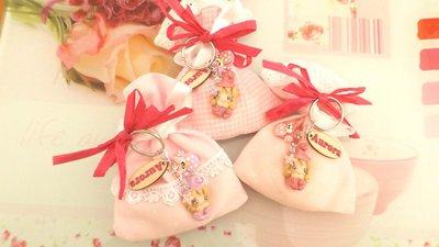 BOMBONIERA DELUXE - battesimo nascita - fimo - porta confetti sacchetti portachiavi FOLLETTO ROSA