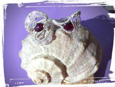 Anello doppio in Argento 925 con Granati Rodolite e Quarzi Rosa
