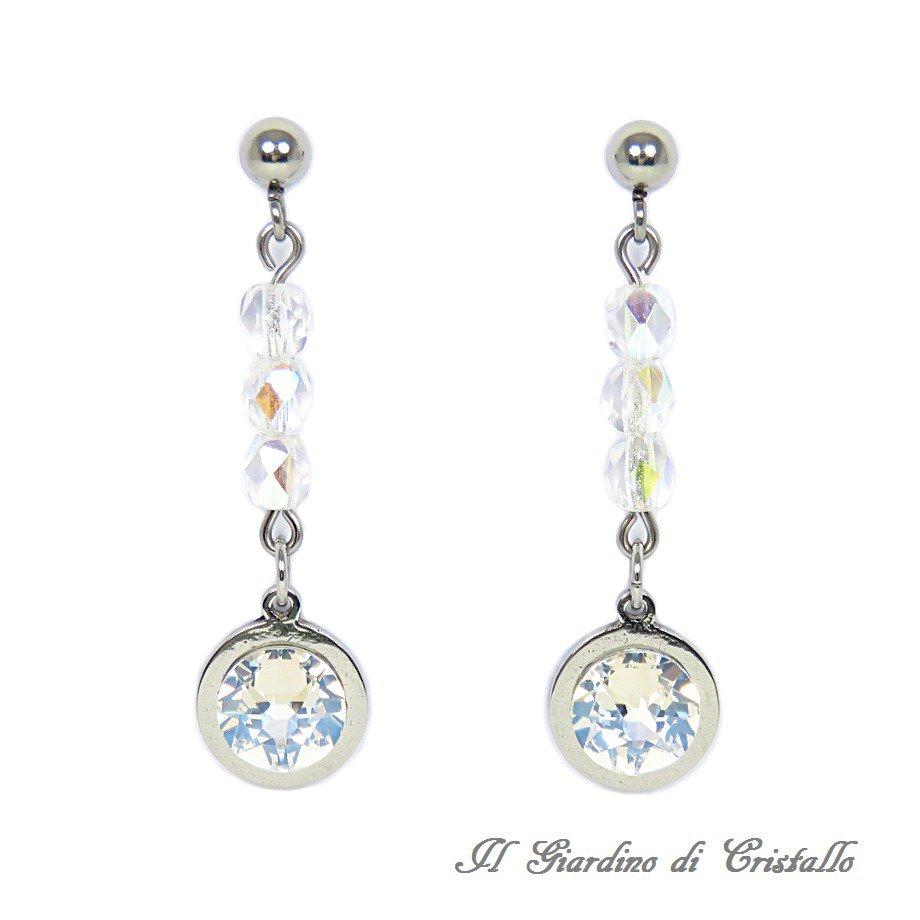 Orecchini sposa pendenti con cristalli Swarovski Moonlight in acciaio fatti a mano - Biancospino