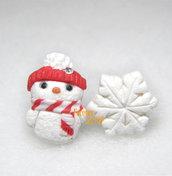 Orecchini lobo perno omino di neve fiocco pupazzo rosso idea regalo natale