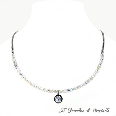Collana sposa mezzi cristalli e pendente Swarovski Moonlight in acciaio fatta a mano - Zagara