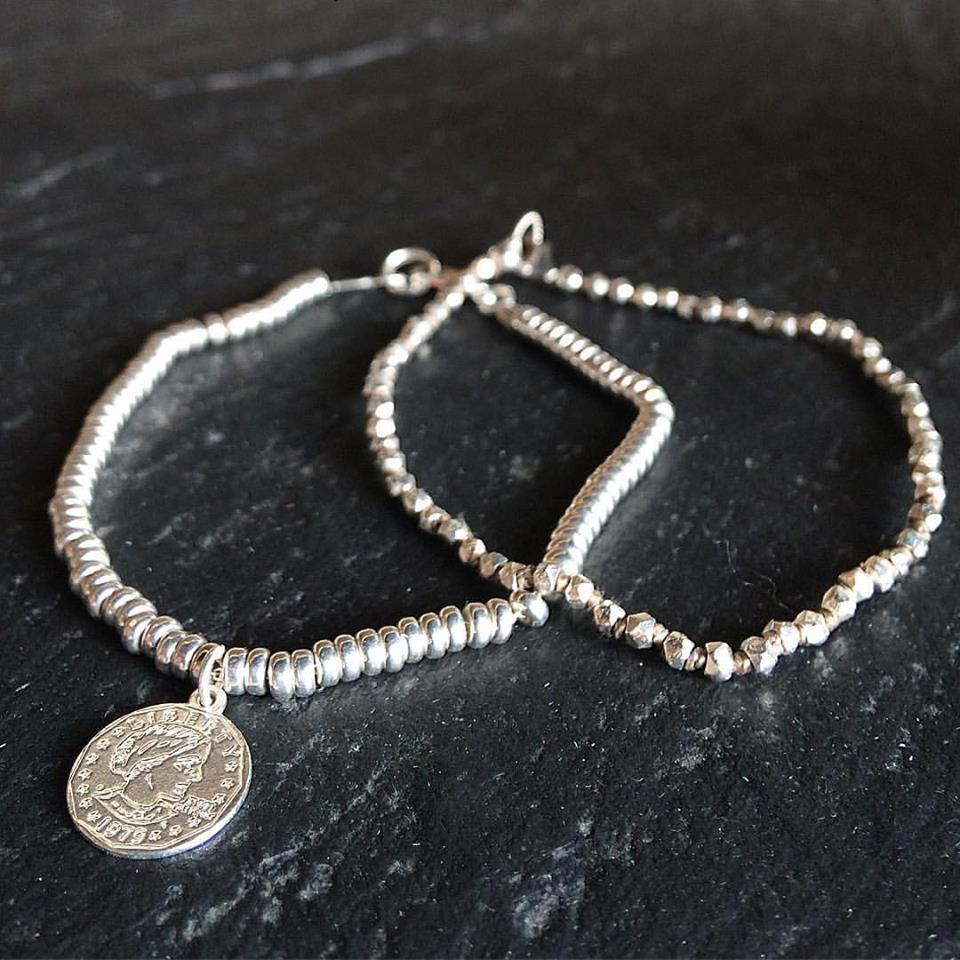Bracciale pepite rondelle e ciondolo Monetina in argento 925
