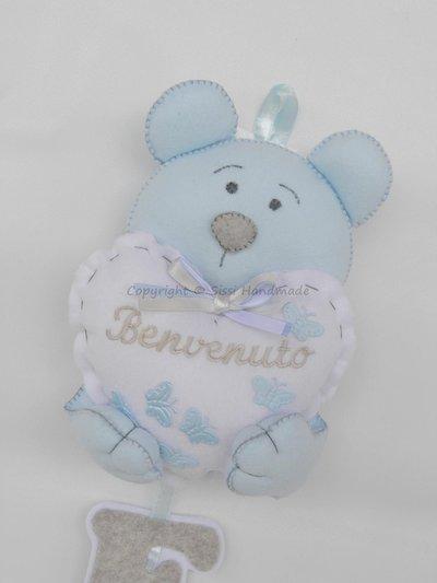 Orsetto con nome per annuncio nascita bimbo