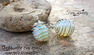 Orecchini gabbie opali monachelle argento 925