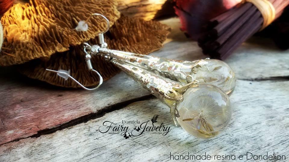 Orecchini lunghi sfere fatte a mano semi fiore dandelion tarassaco monachelle argento 925
