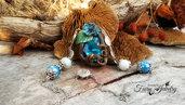 Collana fimo gemma blu zaffiro perle in ceramica druido celtico fantasy