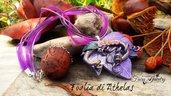 Collana fimo foglia edera elfica viola fata a mano