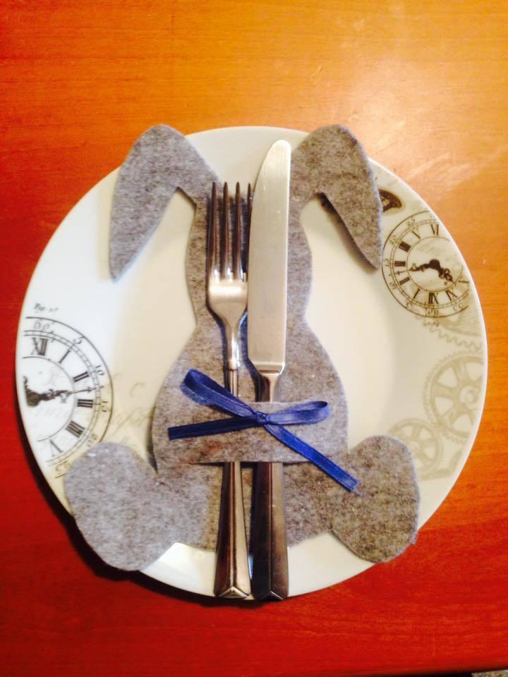 Porta posate coniglio in feltro