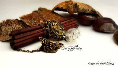 Collana cammeo sfera semi dandelion bronzo tarassaco gioielli botanici