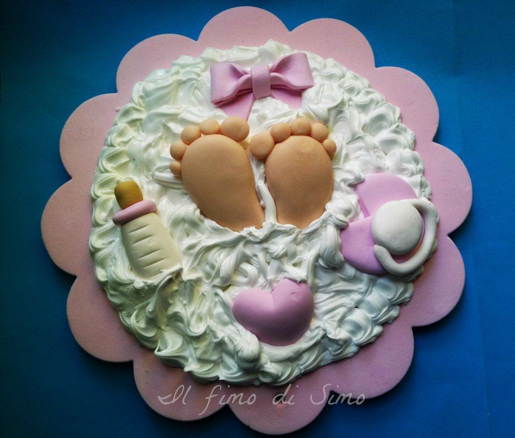 cake topper battesimo nascita in pasta polimerica