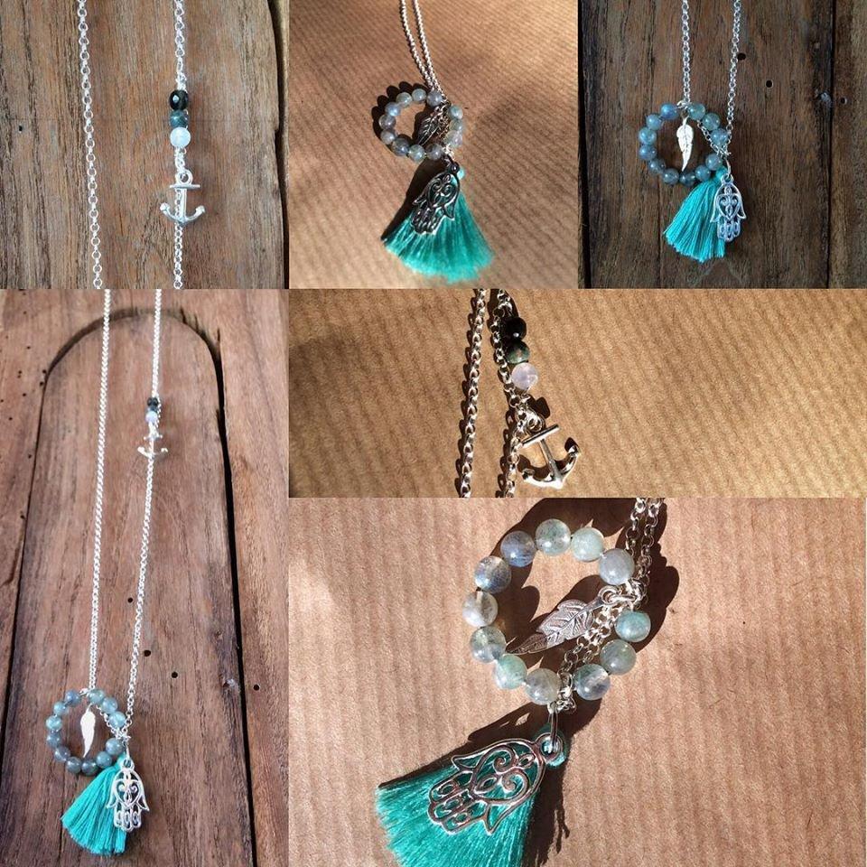 Collana lunga catena argento 925 con ciondoli e pendente in pietre dure