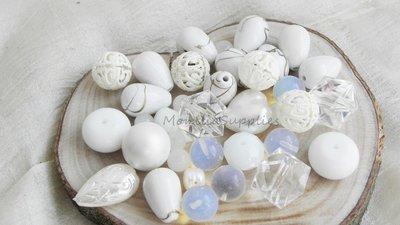 FUORI TUTTO Lotto 5 perle vetro,plastica, mezzo cristallo  106pz