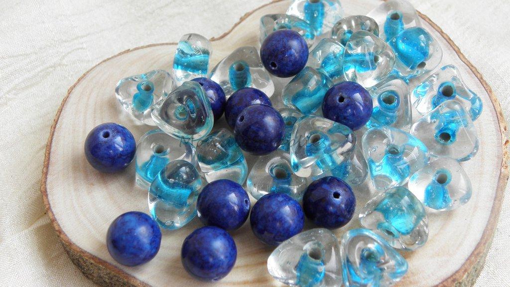 FUORI TUTTO Lotto 8 perle vetro a nocciolina e lapis 78pz