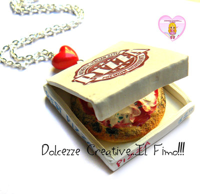 Collana Pizza in cartone - margherita da asporto - kawaii miniature