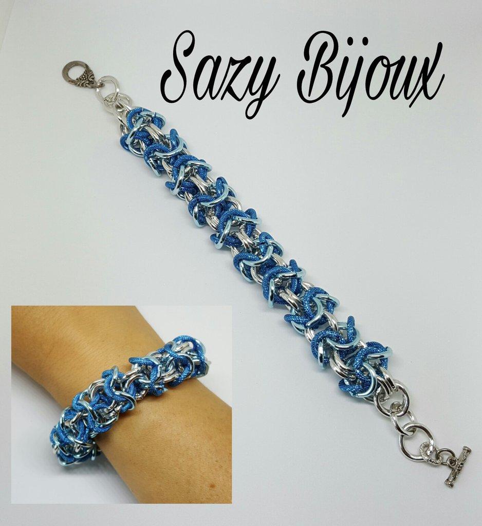 TURKEY BRACELET: Bracciale tubolare Turchese, blu e argento