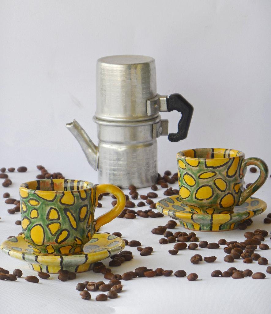 Coppia tazze da caffè con piattino in ceramica giallo verde, caffè espresso, idea regalo