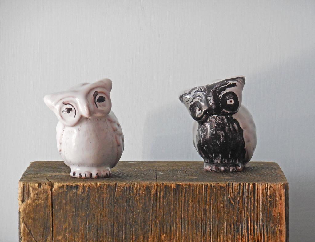 Coppia di gufetti in ceramica, arte della ceramica, gufi bianco e nero
