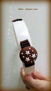Cerchietto con pan di stelle in fimo handmade e fiocchetto idea regalo Natale kawaii regalo epifania calza befana