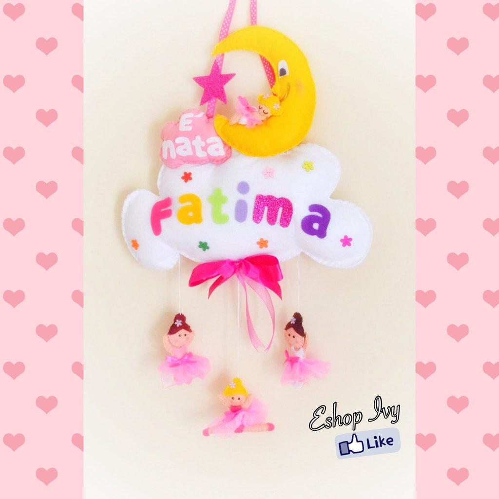 Fiocco nascita ballerina ballerine femminuccia rosa bimba personalizzato con nome