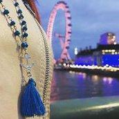 Collana rosario con pietra dura Turchese, Ancora e nappina