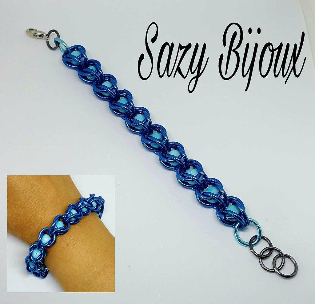 BLU BEADS: Bracciale Blu con perle Turchesi