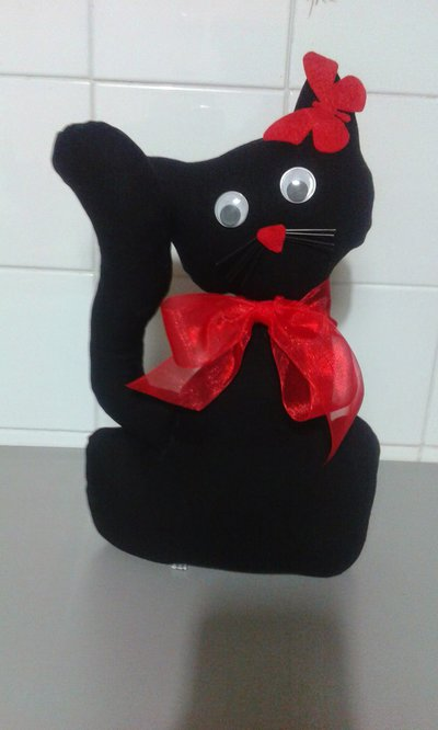 Ferma porta gatto Nerone con fiocco rosso regalo Natale