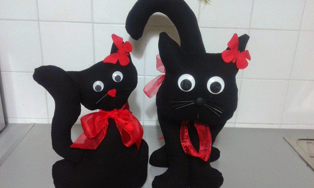 2 Gatti  fermaporta  nerone