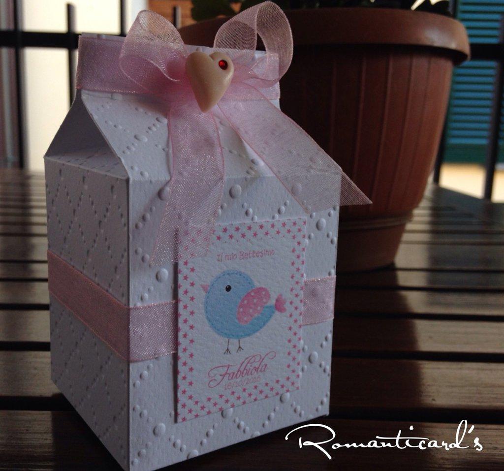 Bomboniera porta confetti a scatolina in forma di latte con cuore in fimo by Romanticards