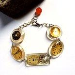 Bracciale regolabile in resina con quadranti di orologio