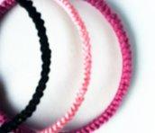bracciale uncinetto cotone motivo decorativo nero
