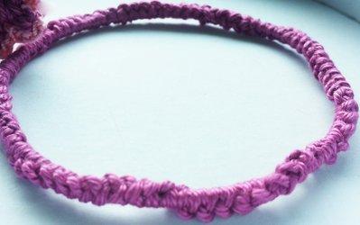 bracciale uncinetto cotone motivo decorativo rosa scuro