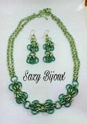 GREEN BUTTERFLY: Parure Collana e Orecchini in sfumature di verde