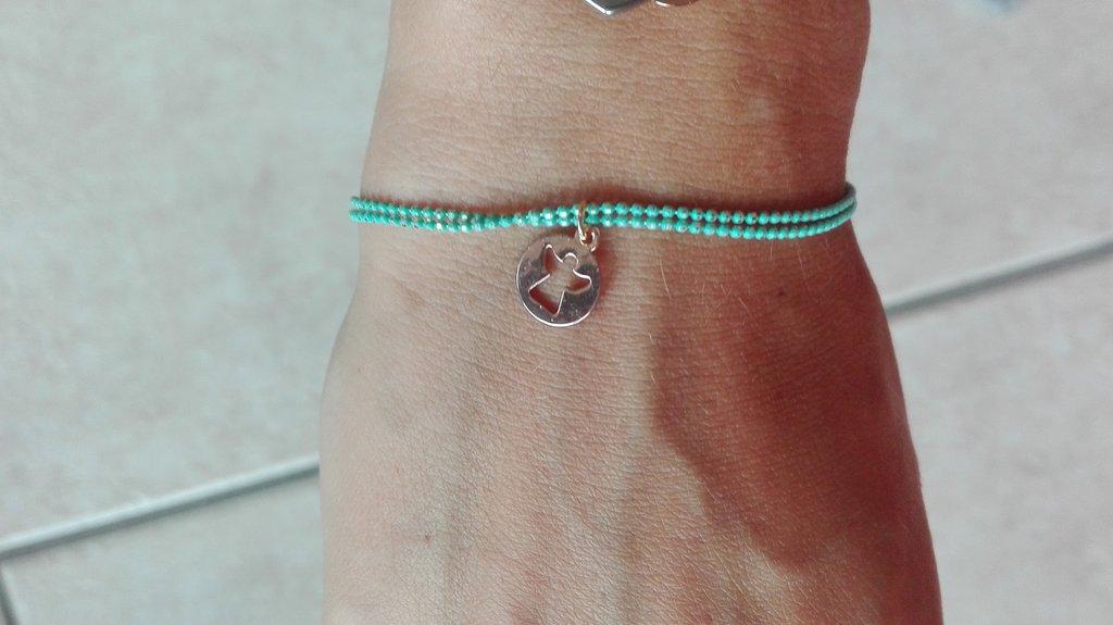 Bracciali catenina colorata color Tiffany e angioletto