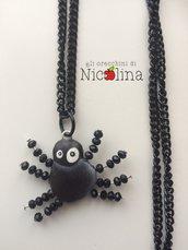 Collana lunga Halloween ragno nero