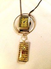 Collana orologio con ciondolo resina e ingranaggi