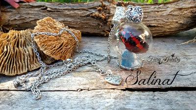 Collana ampolla farfalla realistica 3d cristallo spezzato grzzo pietre dure gioielli lunga