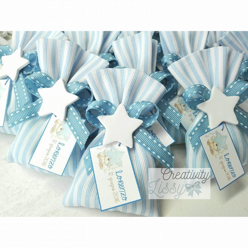 Sacchettino stella porta confetti come cadeaux, bomboniera nascita/battesimo