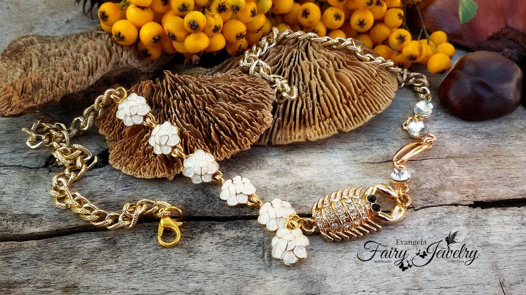 collana scorpione alluminio dorata regolabile