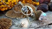 Collana ghianda cristallo natura gioielli botanici fata luna chiave