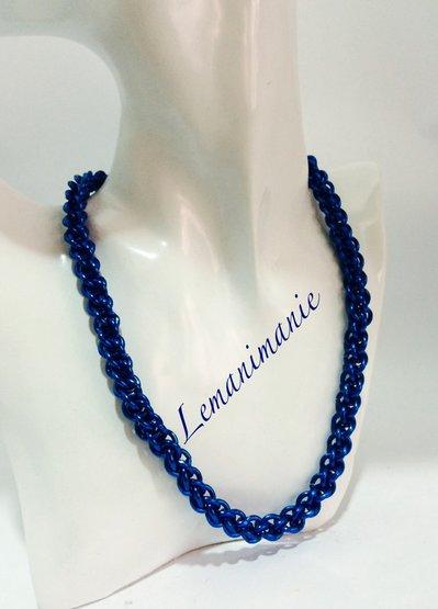 #collana #girocollo #chainmail #blu elettrico