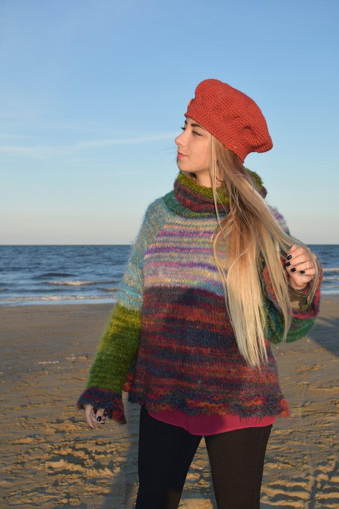 maglia mohair a righe sfumate vari colori