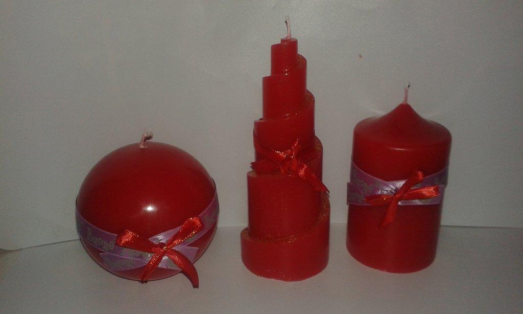 Trittico candele natalizie