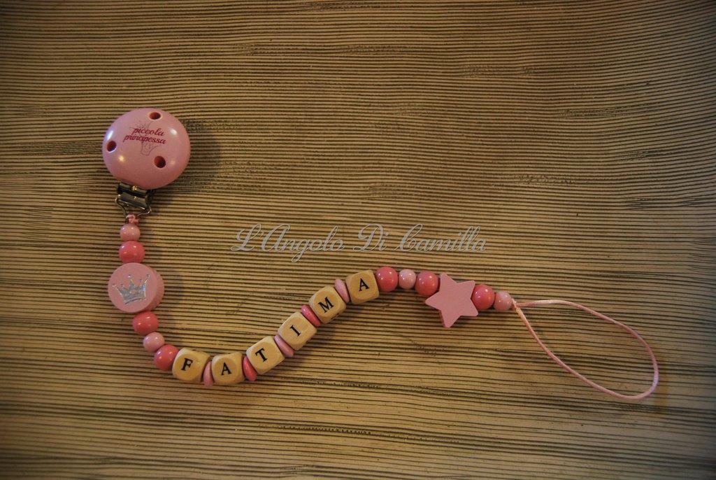 Catenella portaciuccio rosa piccola principessa