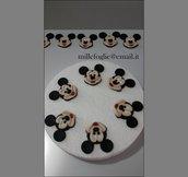 Topolino/Mickey-Decorazioni di zucchero  per torta,cupcakes o biscotti (confezione da 6 pezzi)