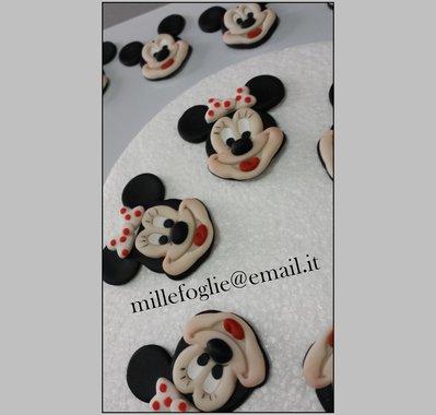 Topolina/Minnie-Decorazioni di zucchero per torta,cupcakes o biscotti (confezione da 6 pezzi)