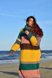 maxi abito in lana a righe colorate