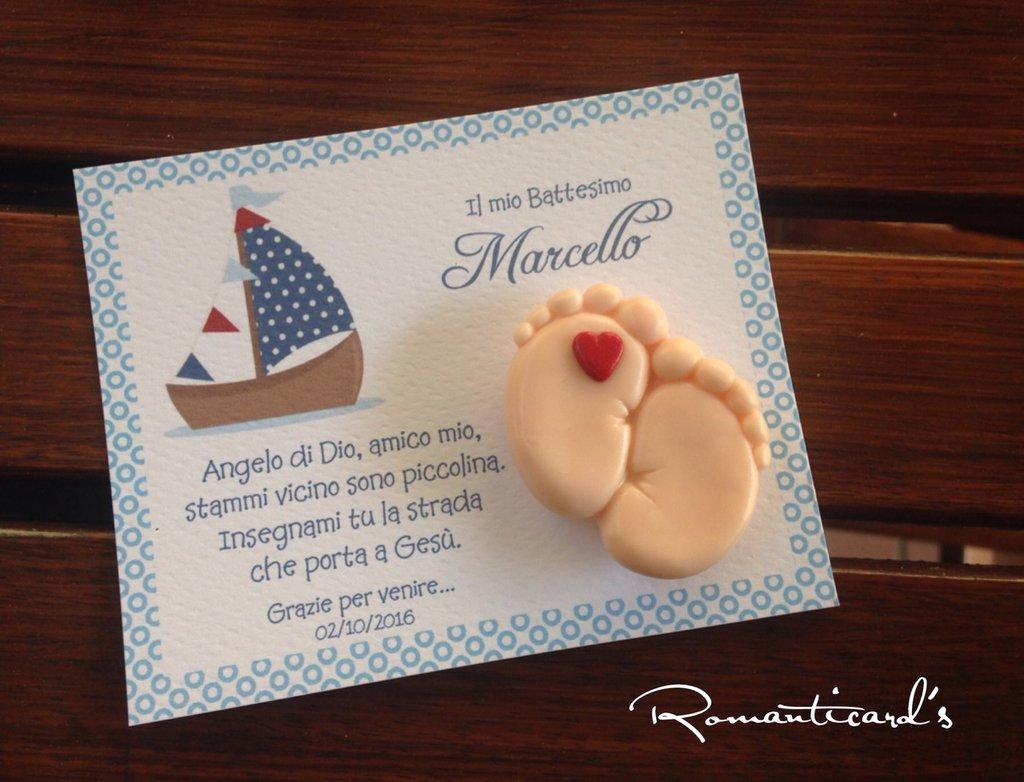 Bomboniera personalizzata con calamita di piedini in fimo by Romanticards