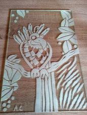 """Vetrata decorata """"Pappagallo"""" con sabbiatura"""