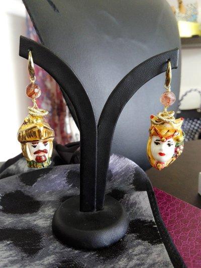 Orecchini Ceramica Testa di Moro Oro